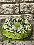 Tidschdeko Tischdekoration Nr.41 Tischgesteck elegant, Gesteck mit Teelicht und Kranz apfelgrün Sommer moderne Tischdeko Sommerdeko - 2