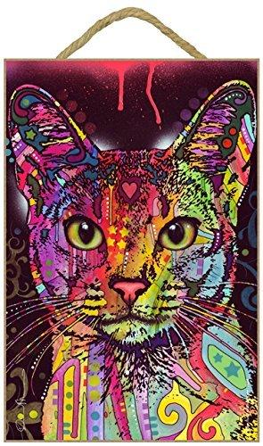 Abessinier Cat 7x 10.5Holz Plakette/Schild mit Das Artwork von Dean - Russo Dean Artwork