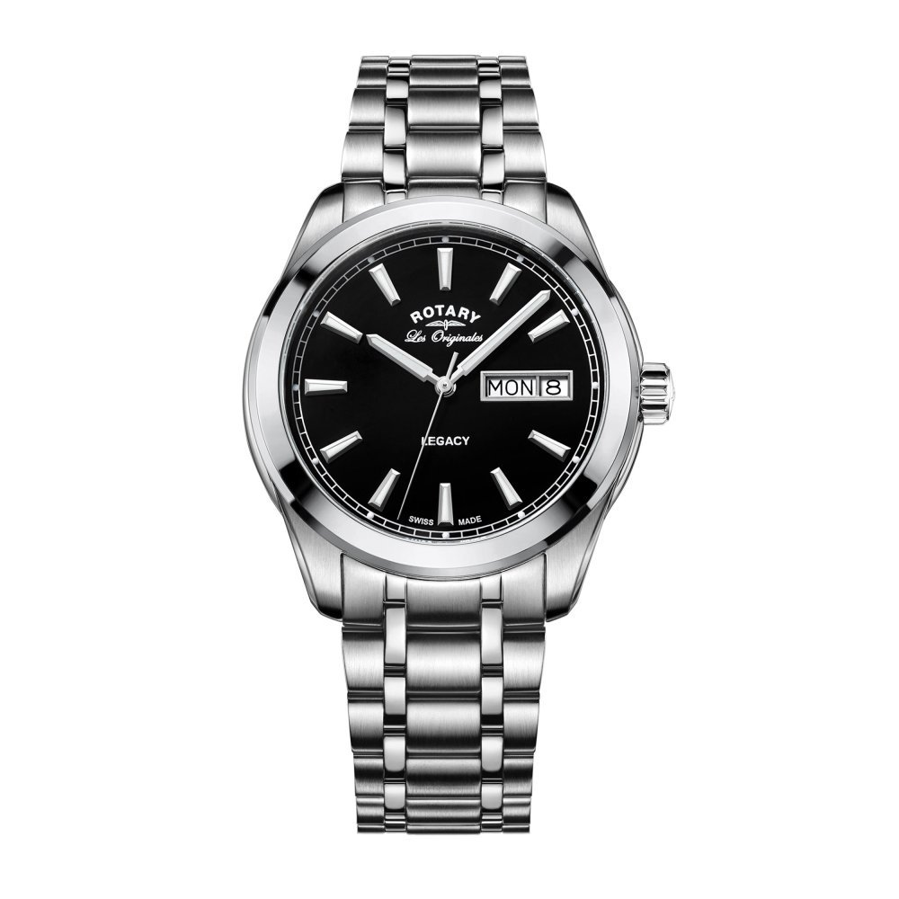 Rotary GB90173/04 Men's Quartz Watch with Black Dial Analogue Display and Silver Stainless Steel Bracelet
