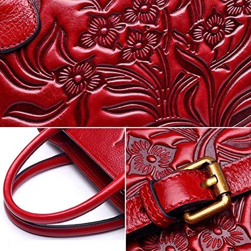 Leathario Borsa di Vera Pelle da Donna Mano Spalla Classico Vintage Estate Elegante Dipinta Lussuosa rosso
