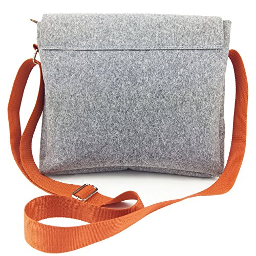 Venetto Herrentasche Messenger Bag Schultertasche Umhängetasche Handtasche Herren Filztasche Tasche aus Filz mit Echtleder-Applikationen für 13 MacBook, Notebook, Laptop, Ultrabook (Schwarz) Grau