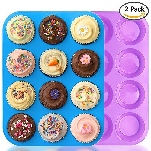 IHUIXINHE 12er Mini-Muffinform Silikon Backform, Bonus 1 IHUIXINHE Telefonseil, Cupcakes, Kuchen, Pudding, Muffinform, (blau & lila) (Backformen-set Lila)