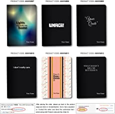 Select any ONE of Displayed Design of Personalised / Customized Notebook / Diary size 5.5 x 8.5 inches 240 blank pages Hardbound Rounded corner with Bookmark (Collection 02)