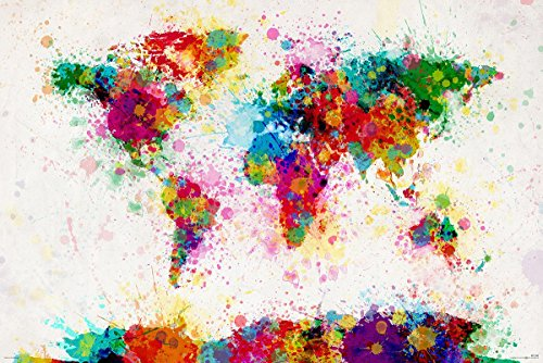 Close Up Michael Tompsett - World Map Watercolor Paint Drop - Weltkarte in Wasserfarben (91,5cm x 61cm) - Michael Weltkarte Tompsett