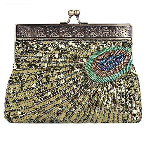 vintage peacock antique perlen pailletten abend handtasche dinner party clutch taschen geldbörse. 22 x 14 x 4 cm green