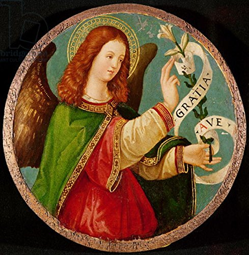 "Alu-Dibond-Bild 90 x 90 cm: ""The Angel of the Annunciation (oil on panel)"", Bild auf Alu-Dibond"