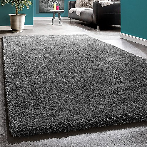 Shaggy Rug Anthracite / Super Soft High Pile / Charcoal / Rio XXL Carpet, Size:160x225 cm