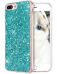 OKZone iPhone 8 Plus Hülle,iPhone 7 Plus Hülle, Luxus Glitzer Bling Design Weich TPU Handy Tasche Rückseite Hülle Etui Cover TPU Bumper Schale für Apple iPhone 7 Plus/iPhone 8 Plus (Grün)