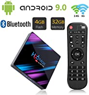 H96 MAX Android 9.0 TV Box 4GB RAM/32GB ROM Quad Core 64-bit Chipset 3D / 4K Stereo HD Image Support USB 3.0 / BT 4.0/2.4G 5G