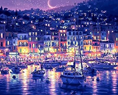 [ New Release ] Diy Oil Painting by Numbers, Paint by Number Kits - Harbor Seaport Bay City Night 16*20 inches - Digital Oil Painting Canvas Wall Art Artwork Landscape Paintings for Home Living Room Office White Christmas New Year Valentine Decor Decorati