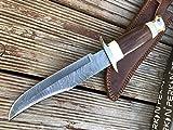 Perkin Knives Cuchillo de Caza de Damasco Cuchillo Bowie con Funda de Cuero