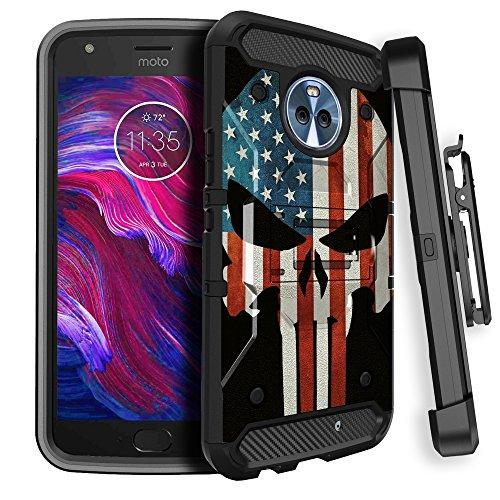 Rugged Moto X42017Max Guard Handy Schutzhülle [Karbonfaser-miniturtle Rugged Clip Case für Motorola Moto X4] drehbarem Gürtelclip Holster und Solides Design Ständer, American Flag Skull - Handy Entsperrt Motorola X