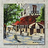 'Cafe Berlotti' by Brent Heighton, 12x12 inches Decorative Ceramic Tile by Fiesta Studios