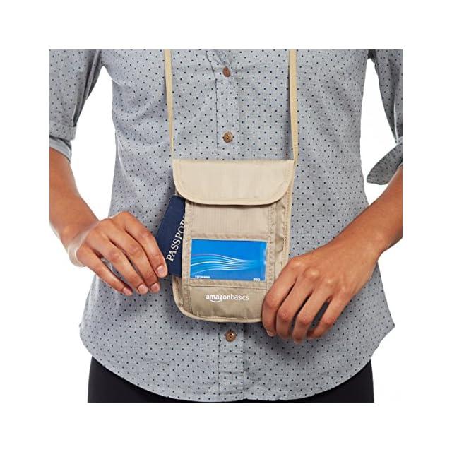 AmazonBasics Pochette de Voyage Tour de Cou avec Protection contre Signaux RFID, Kaki