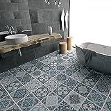 YYH 3D Blau grau Mittelmeer- Muster Boden Aufkleber Peel & Stick Wandaufkleber Simulation Keramikfliese Wandgemälde zum Küche Boden dekorativ Rutschfest , 3 sets , 60x120cm