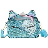FENICAL bolso bandolera lentejuelas unicornio mini bolsos monedero messenger flippy glitter para mujer niñas (violeta)