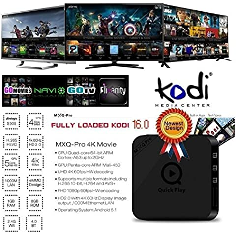 MXQ Pro Android TV BOX Amlogic S905 Quad Core 100M LAN de 1 GB / 8 GB Iptv Set Top Box preinstalados Wi-Fi de 2,4 GHz Bluetooth 4.0 KODI Streaming Media Player