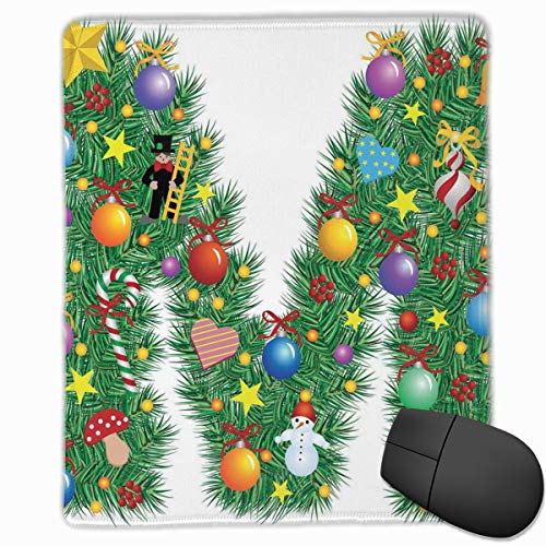 Berry Stain (Mouse Mat Stitched Edges, Festive Cute Colorful Figures On Letter M Winter Season Theme Snowman Holly Berry,Gaming Mouse Pad Non-Slip Rubber Base)