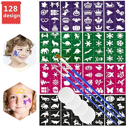 Emooqi Tattoo Schablonen für Kinder, 128 Stück Kinder Schminkschablonen mit 3 Pinsel, 4 Schwämme,für Mädchen, Jungen Kreativität Tattoo Schablone für Kinder Schminke Partys