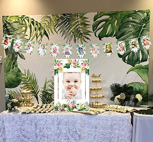 eburtstag Dekorationen,Baby 1-12 Monate Foto Garland, Flamingo-Ananas-Kaktus Foto Seil Banner Ersten Geburtstag Garland für Baby Shower Luau Sommer Party Dekoration ()
