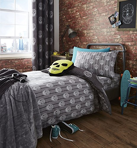 Catherine Lansfield Skulls Easy Care Single Duvet Set Grey Best Price and Cheapest