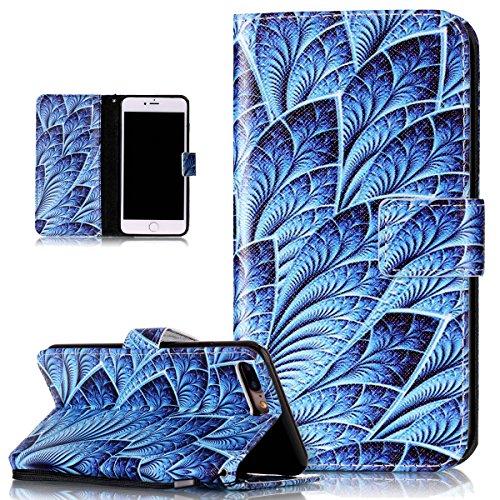 Custodia iPhone 7 Plus, iPhone 7 Plus Cover, ikasus® iPhone 7 Plus Custodia Cover [PU Leather] [Shock-Absorption] Protettiva Portafoglio Cover Custodia Quadri colorati disegno colorato con Super Sotti piuma Blu