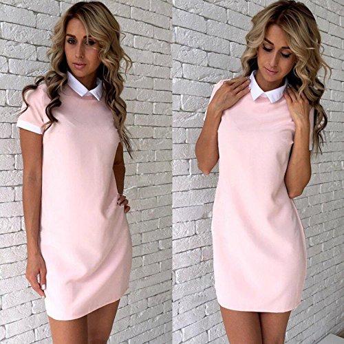 SHUCHANGLE Frauen Polyester Büroarbeit White Collar Shirt Kleid Sommer Kurzarm Partei Blau Pink Gerade Kleid, Pink, L
