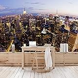 Apalis Vliestapete New York Skyline bei Nacht Fototapete Breit | Vlies Tapete Wandtapete Wandbild Foto 3D Fototapete für Schlafzimmer Wohnzimmer Küche | mehrfarbig, 94733