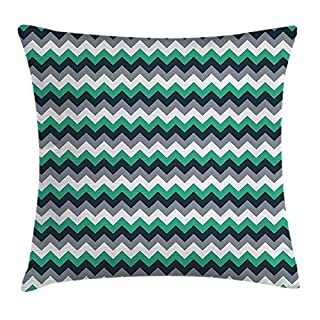 ZHIZIQIU Chevron Throw Pillow Cushion Cover, Zig Zag Symmetric Arrows Striped Pattern in Vibrant Color Artisan Print, Decorative Square Accent Pillow Case, 18 X 18 Inches, Jade Green Grey White