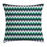 FAFANI Chevron Throw Pillow Cushion Cover, Zig Zag Symmetric Arrows Striped Pattern in Vibrant Color Artisan Print, Decorative Square Accent Pillow Case, 18 X 18 Inches, Jade Green Grey White