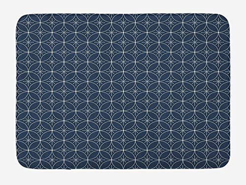 ZKHTO Geometric Bath Mat, Abstract Dotted Floral Arrangement Circular Traditional Japanese Motifs, Plush Bathroom Decor Mat with Non Slip Backing, 23.6 W X 15.7 W Inches, Dark Blue Cream -