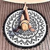 Internet Hippie Ronde Tapisserie Ronde Mandala Plage Serviette Yoga Mat Bohème Nappe(Polyester(Noir), 150_x_150_cm)
