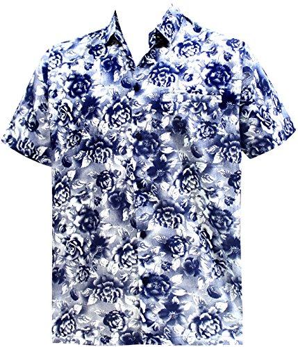 La Leela Männer regular fit Aloha hawaiische kurze Ärmel Knopf unten Hawaiihemd blau XL (Ärmel Knopf Kurze Ein)