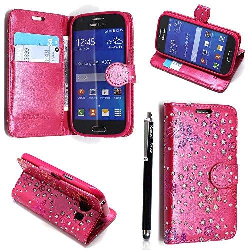 Funda para Samsung Galaxy J3 2016 , Kamal Star® Funda Cuero PU Billetera Folio Carcasa, [Stylus Libre] Piel Case Cover con Soporte Plegable para Samsung Galaxy J3 2016 (Rose Pink Diamond Book)