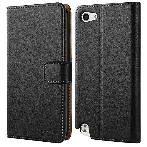 HOOMIL iPod Touch Hülle, Premium Leder Tasche Flip Case Schutzhülle für Apple iPod Touch 5/6/7 Generation Hülle (Schwarz)