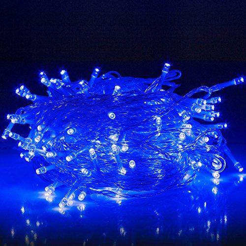 Han Lucky Star 30M 200 LED Wasserdicht Lichterkette mit 8 Modi Innen und Außen Deko für Party Garten Weihnachten Halloween Hochzeit Hotel Festival (Blau)