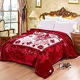 Vin rouge motif floral épaississement Raschel couvertures hiver Nap Nap doublage de...