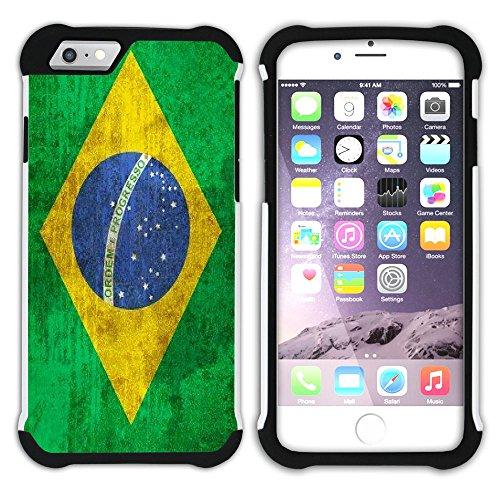 Graphic4You Vintage Uralt Flagge Von Dominikanische Republik Design Hart + Weiche Kratzfeste Hülle Case Schale Tasche Schutzhülle für Apple iPhone 6 Plus / 6S Plus Brasilien Brasilianisch