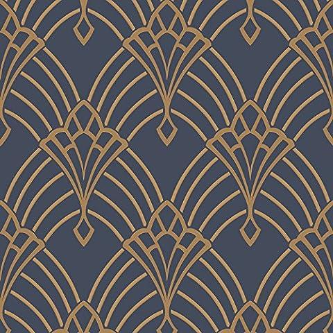 Astoria Deco Tapete dunkel blau und Gold Rasch 305340