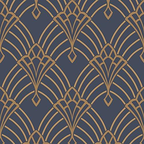 Astoria Deco Tapete dunkel blau und Gold Rasch 305340 - Blue Glimmer Glitter