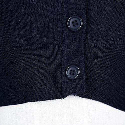 Damen V-Ausschnitt Kurz-Strickweste Strickjacke 3/4 Ärmel Navy