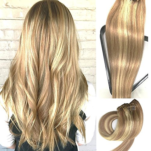 Clip in Echthaar Extensions 20 in 7 Stück 70g Golden Brown Hair Extensions mit blonden Highlights seidig gerade Schuss Remy Menschenhaar