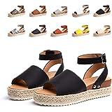 Sandalias Mujer Verano Plataforma Alpargatas Esparto Cuña Zapato HebillaPunta Abierta Comodas Negro Marrón Blanco Leopardo A