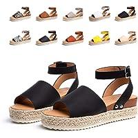 Womens Platform Sandals Ladies Summer Wedge Espadrilles Sandal Buckle Ankle Strap Peep Toe Flatform Shoes Comfy Black…