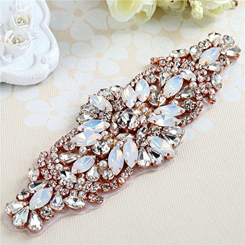 Moda rosa de oro blanco Opal Crystal Rhinestones Appliques para el vestido de boda Cinturones Head Pieces Bolsas