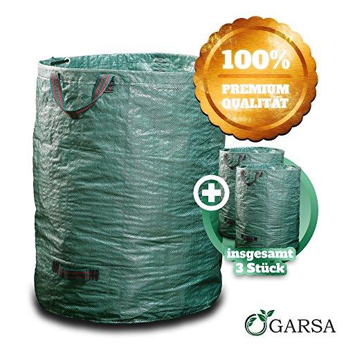 GARSA Gartenabfallsack Set 3 x 300 Liter - 3x PREMIUM Gartensack mit Verstärkten Griffen