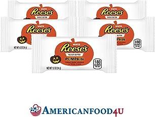 AMERICANFOOD4U - Reese's HALLOWEEN Weisse Erdnussbutter Schokolade [5 Riegel] (je 43 g) | PEANUT BUTTER CUPS WHITE PUMPKIN | Original Importschokolade aus den USA | Feinste Erdnussbutterriegel in amerikanischer Schokolade von The Hershey Company | Die beliebtesten amerikanische Süßigkeiten / Sweets aus den Vereinigten Staaten bei Dir zu Hause | Pumpkin Edition - Deine US Sweets!
