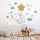 R00548 Adesivi Murali Soffice Effetto Tessuto Elefante Decorazione Muro Bambino Neonato Nursery Cameretta Asilo Nido Carta da
