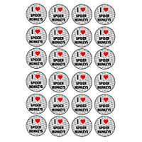 I Love Spider Monkeys - 24 Stickers - Fun Gift - Kids - Adults - Birthday - Christmas - Stocking Filler - Reward Stickers - Party Bag Fillers