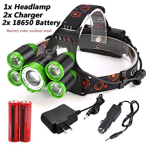 mxjeeio Stirnlampe, Super helle LED-Lampen, 35000 Lumen 5X XM-L T6 LED Wasserdichter Taschenlampe Scheinwerfer,Perfekt zum Laufen, zum Campen, zum Wandern und zum Spazierengehen (Set, Grün)
